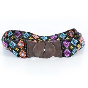 """Accessories - Funky beaded stretchy belt with wooden """"buckle"""" M"""